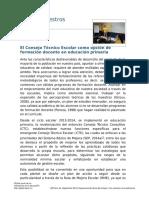 El Consejo Técnico Escolar Como Opción de Formación Docente en Educación Primaria