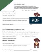 dog trainer presentation permisison slip