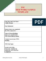 psu teacher work sample template 2012