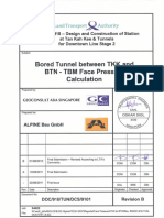 Bored Tunnel Between TKK and BTN - TBM Face Pressure Calculation