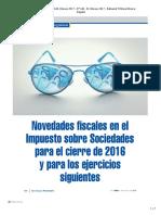 Novedades fiscales Impuesto sobre Sociedades cierre de 2016