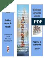 CULTURA | Biblioteca Central de Coslada / Programa de actividades Abril 2017