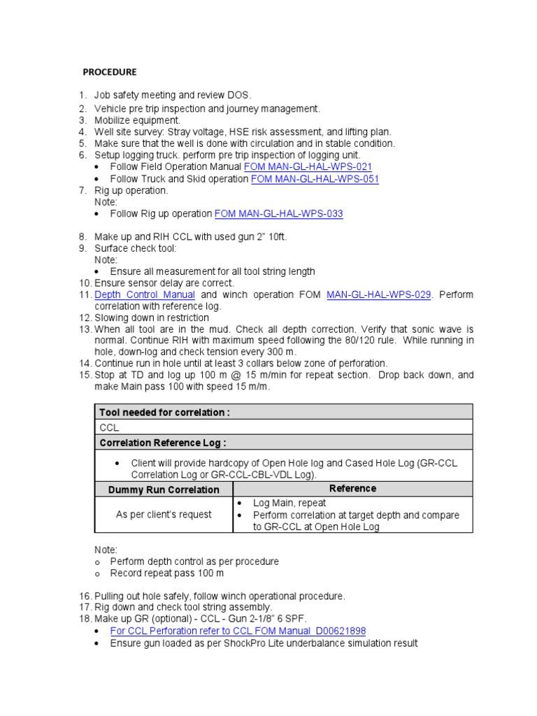 sop perforation enerjet pdf drilling rig technology rh es scribd com Procudures Manual Procedure Manual Cover