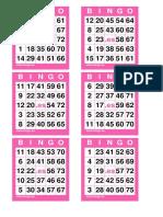10 COM 60 Cartones Bingo 75 Bolas