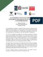 Primera Circular II Congreso Nacional Religión 2017.
