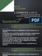 Tema 2 El Pecado de La División en La Iglesia. 1 Corintios 1, Por Azael Alvarez