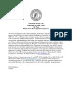 Public Works Heavy Equipment Operator Job Posting