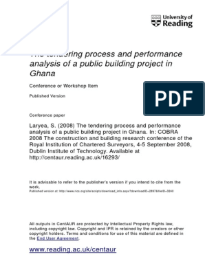 The Tendering Process and Performance Analysis of a Public