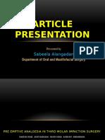 Pre Emptive Analgesia in Third Molar Impaction Surgery