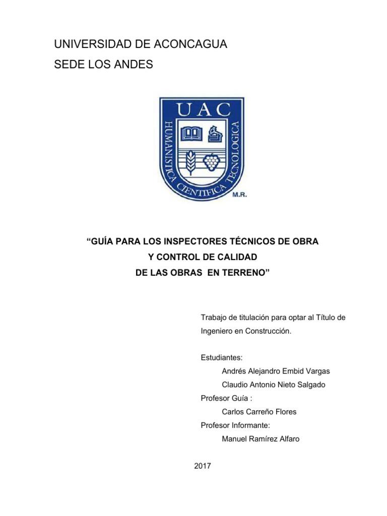 GUÍA PARA LOS INSPECTORES TÉCNICOS DE OBRA Y CONTROL DE CALIDAD DE ...