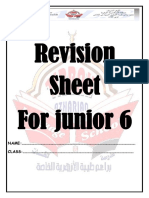 English Revision sheet for Junior 6
