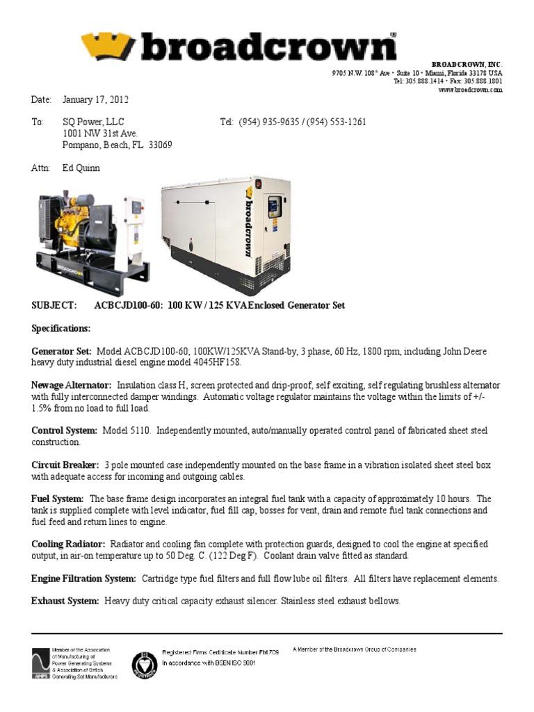 100 Kw John Deere 1 17 2012 Mechanical Fan Battery Electricity Pole Mounted Controller Wiring Diagram