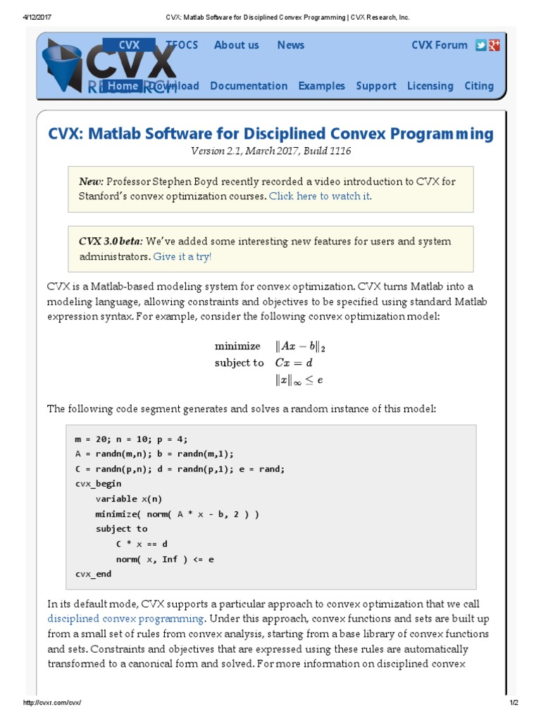 Matlab cvx download