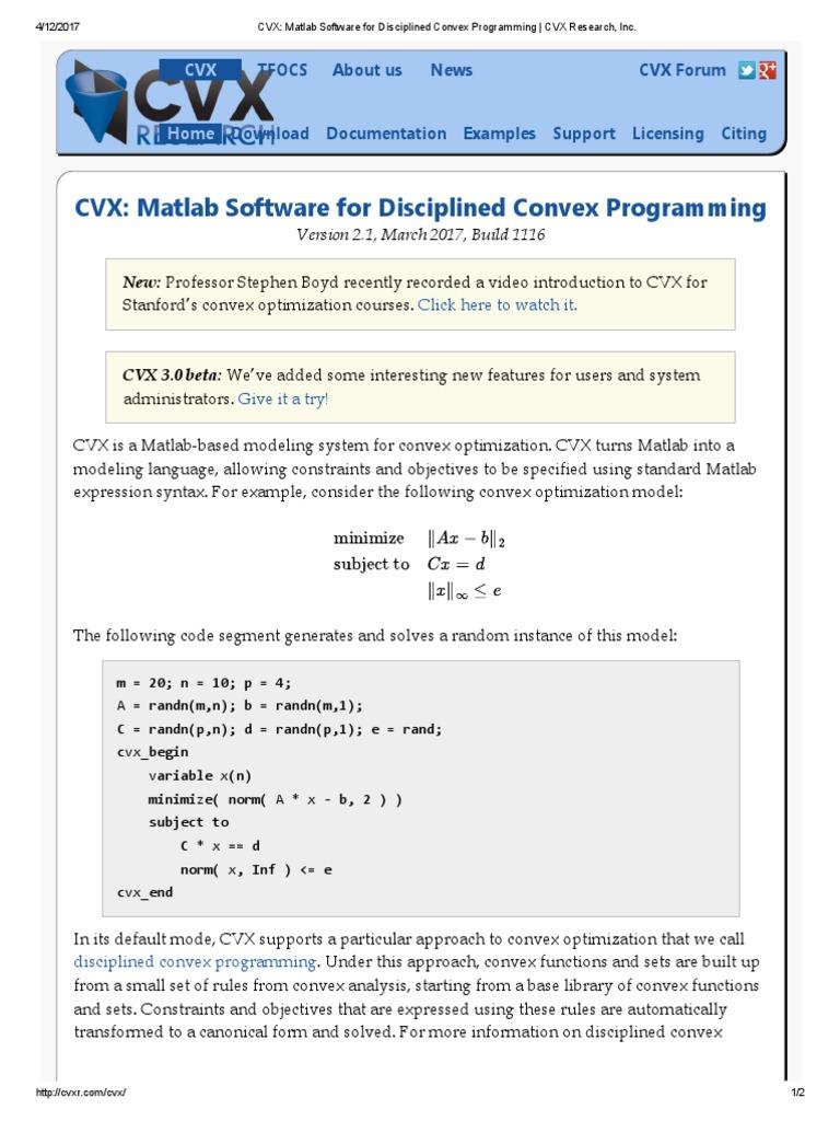 CVX_ Matlab Software for Disciplined Convex Programming _
