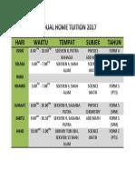 Jadual Home Tuition 2017