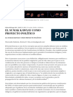 El Sumak Kawsay Como Proyecto Político - Simbaña