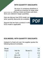 Quantity Discounts Model