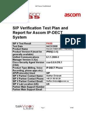 Ascom IP-DeCT Handset SIP Verification Final Test Report