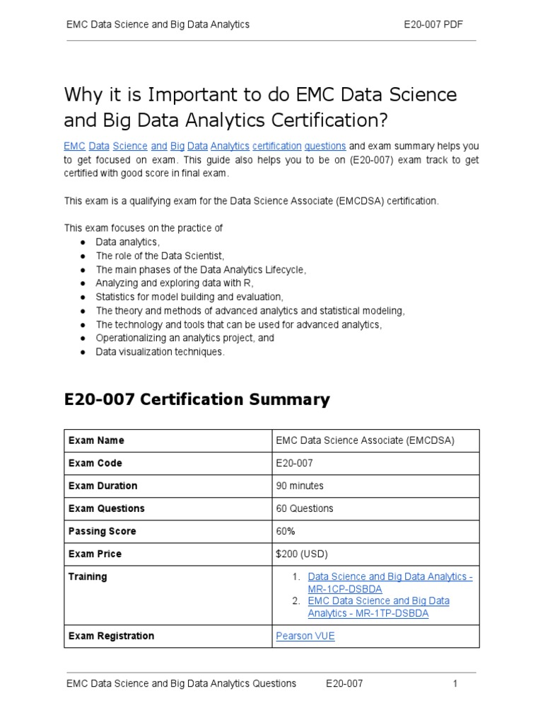 E20 007 certification guide and how to clear exam on emc data e20 007 certification guide and how to clear exam on emc data science and big data analytics analytics data science xflitez Images