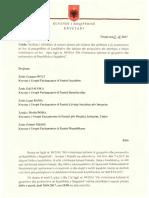 Letra e Kreut te Kuvendit per mbledhjen e seances se jashtezakonshme
