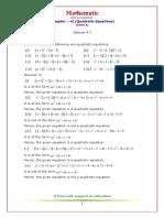 Quadratic Equations Class 10