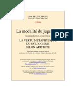 L. Brunschvicg, Les Modalités Du Jugement, Aristote