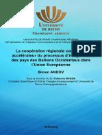 """""""La coopération régionale comme un accélérateur du processus d'intégration des pays des Balkans occidentaux dans l'Union Européenne"""""""