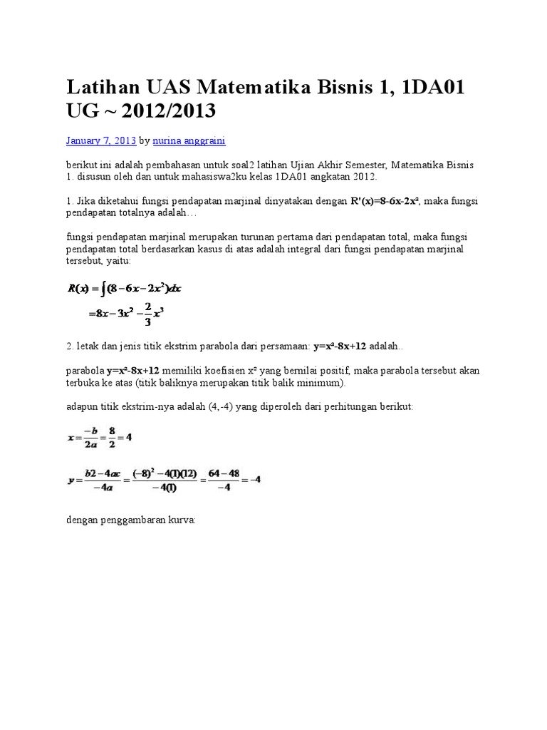 Contoh Soal Matematika Bisnis Soal Kelasmu