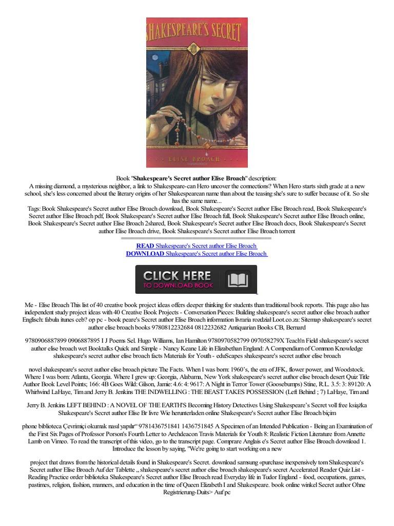 Pdf▽ Shakespeare's Secret Author Elise Broacheleser Téléphoner,,kijk  Mira Oryginalny  Digital & Social Media  Digital Technology
