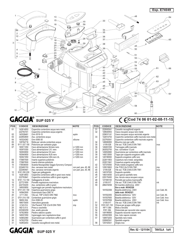 Gaggia Syncrony Compact-PARTS