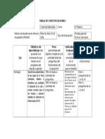 TABLA DE ESPECIFICACIONES Prueba parcial 6°