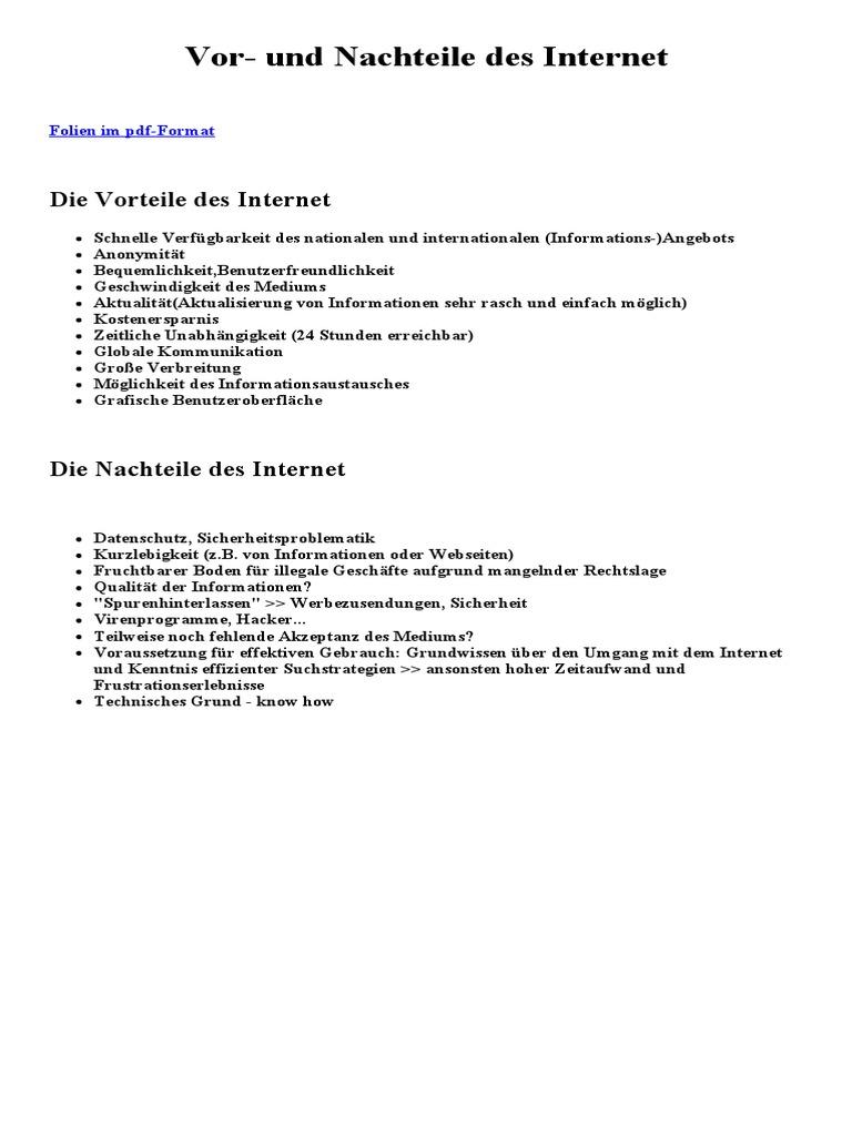 Vor- Und Nachteile Des Internet