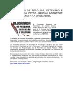 III JORNADA DE PESQUISA, EXTENSÃO E CULTURA DA FATEC JUNDIAÍ ACONTECE  ENTRE OS DIAS 17 A 20 DE ABRIL