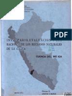 Inventario y evaluacion de los Recursos hidricos en la Cuenca del Río Ica