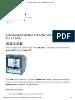 Comunicación Modbus TCP Entre Sentron 3200 y El PLC S7 1200