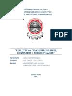 explotacion  de acuíferos libres, confinados y semiconfinados