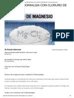 Trata La Fibromialgia Con Cloruro de Magnesio - Barcelona Alternativa
