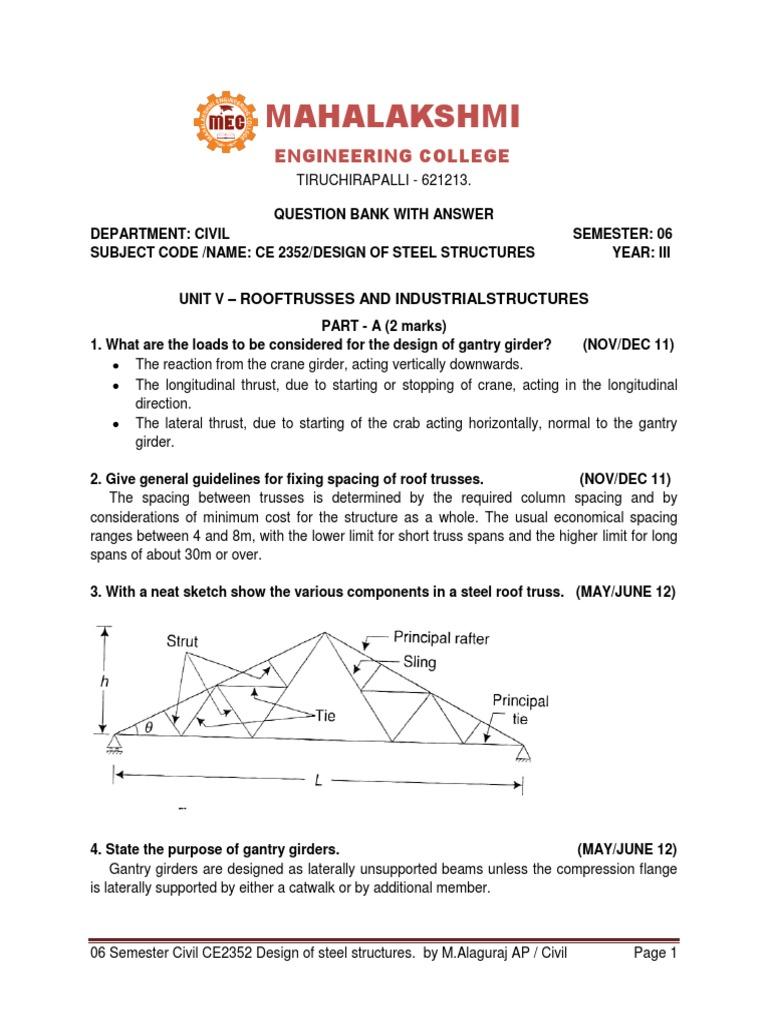 UNIT 5(1) | Truss | Beam (Structure)