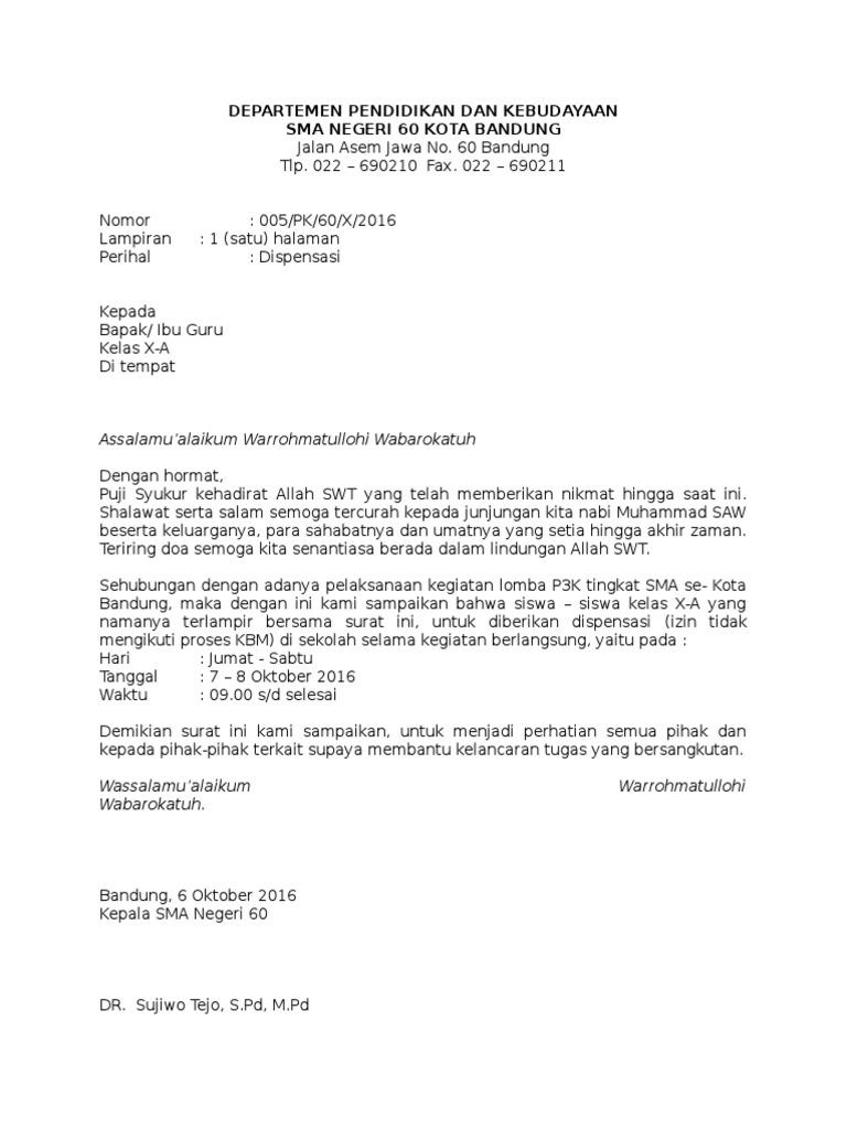 Contoh Surat Dispensasi Sekolah Untuk Mengikuti Kegiatan Ekskul