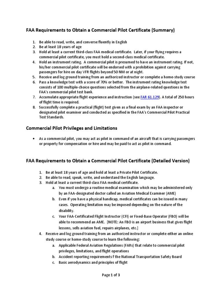 Faa requirements to obtain a commercial pilot certificate flight faa requirements to obtain a commercial pilot certificate flight instructor aviation xflitez Images