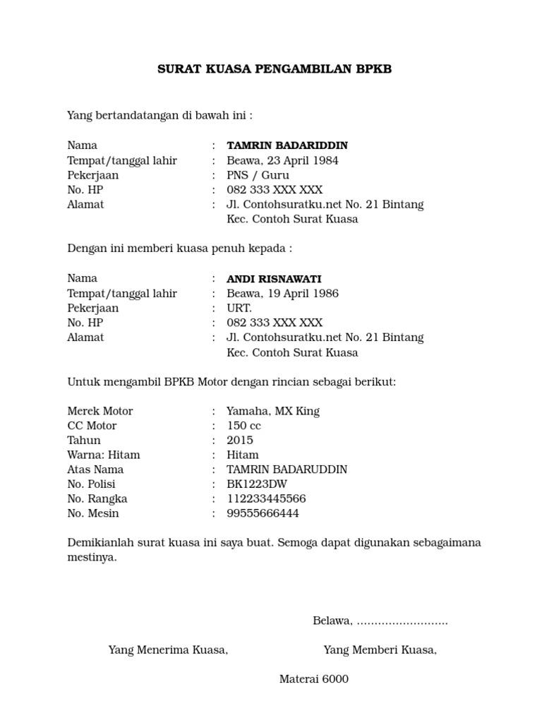 3 Contoh Surat Kuasa Pengambilan Bpkb Terbaru Format Ms Word Copy