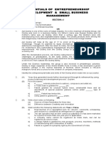Sample Question Paper - Entrepreneurship Development