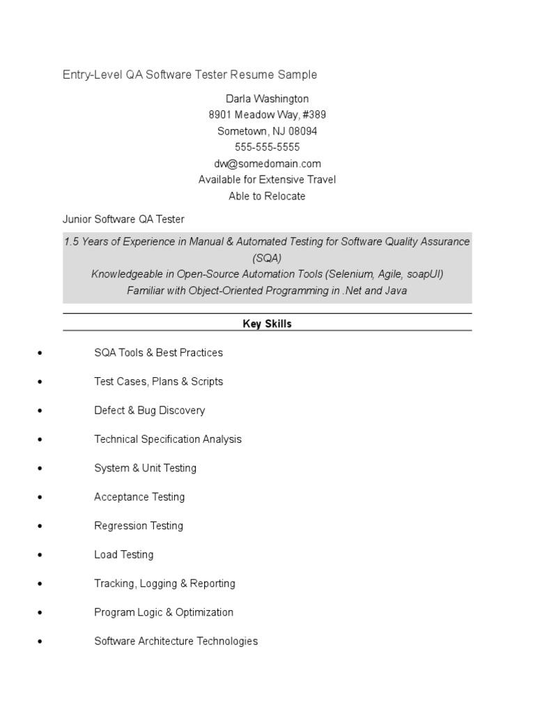 Entry-level QA Tester docx | Selenium (Software) | Software Bug