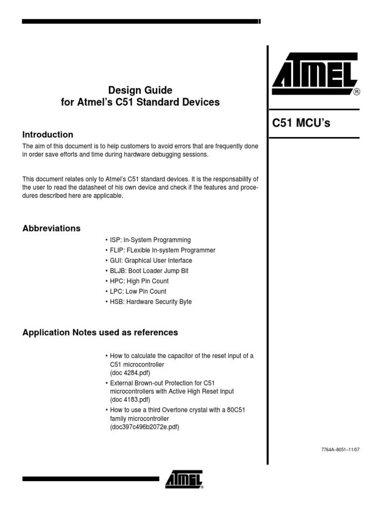 design guide for atmel 8051 standard devices pdf microcontroller rh scribd com ABA Data Sheets Printable Data Sheets