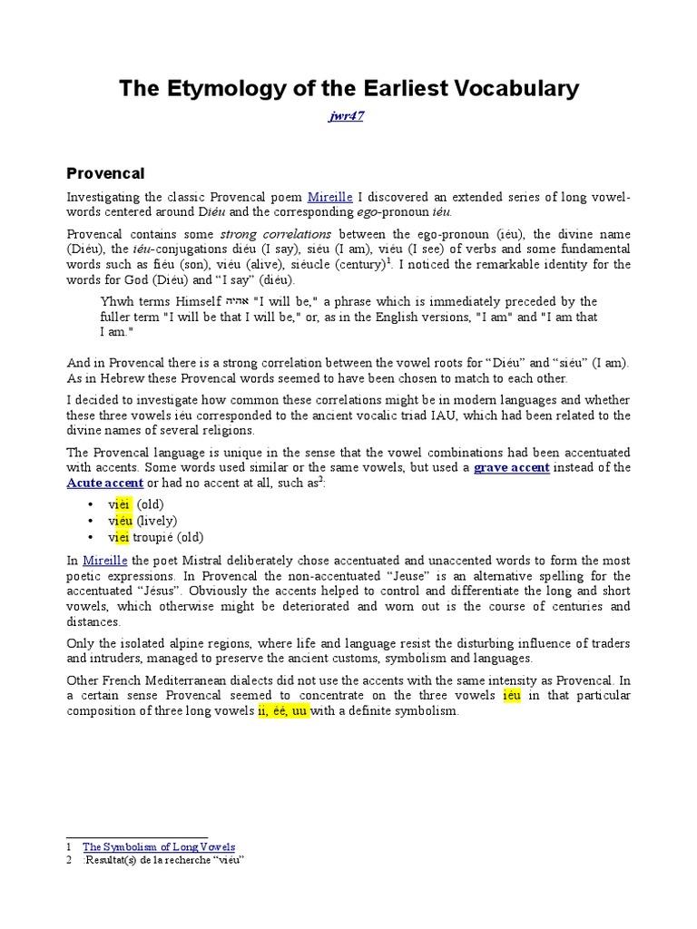 The Etymology of the Earliest Vocabulary | Tetragrammaton
