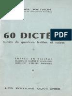 60 Dictées (Jean Maitron)[Editions Ouvrières - 1954]