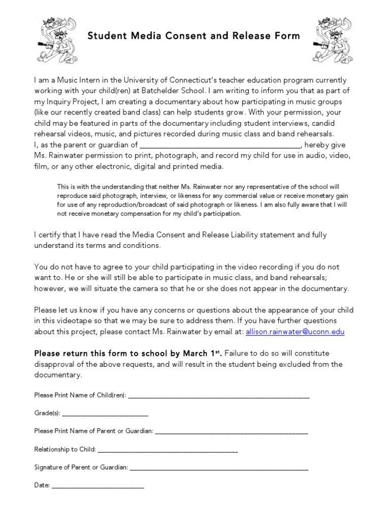 Student Media Consent And Release Form