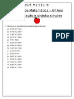 3 - Lista - 6 Ano - Multiplicação e Divisão Simples