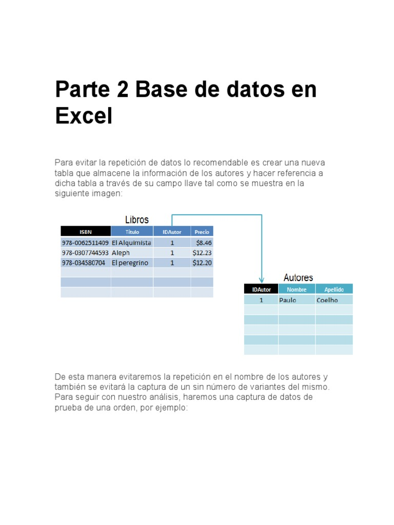 Parte 2 Base de Datos en Excel