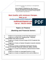 MBA Finance Project Topics